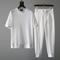 Men's Tracksuits Summer Casual Suit Round Neck 2021 Elastic Breathable Pleated Short Sleeve Thin Set