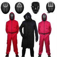 오징어 게임 코스프레 의상 벨트 장갑과 함께 빨간 장갑 후드 jumpsuit 보스 검은 바람 코트 아웃웨어 할로윈 공포 의상 파티 Xmas 소품 의류 h10zxe7