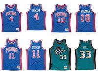 Kundenspezifische genähte Basketball-Jersey Männer Frauen Jugend S-6XL 4 Joe Dumars 10 Dennis Rodman 11 Jesaja Thomas 33 Hill 1988-89 Hardwoods Classics Retro-Trikots