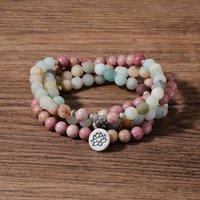 OAIITE 8MM Rhodochrosite ite Stone Bracelet Mala Beads Prayer Bracelets With Lotus Pendant Spiritual Yoga Jewelry Gifts