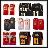 "Atlanta ""Hawks"" Jersey Trae 11 Jeunes Jersey Basketball Jerseys De'andre 12 Hunter Retro Mesh 4 Webb"