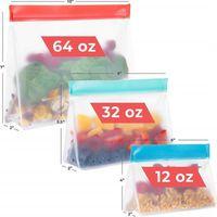 حاويات تخزين المواد الغذائية مجموعة أكياس طازجة zips سيليكون قابلة لإعادة الاستخدام الغداء فواكه كوب مانعة للتسريب الفريزر الألوان العشوائية FWF8670