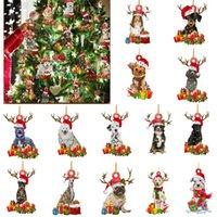 2021 in legno carino cane albero di Natale ornamento natale natale infrangibile sfera figurine decorazione natività partito fai da te benedizione cucciolo cervi cervi pendente sculture regalo