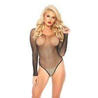 Sexy Women Long Sleeve Fishnet Rhinestone Bodysuit Leotard Tops Swimsuit Hollow Out Off Shoulder See Through Playsuit Jumpsuit