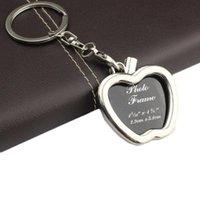 금속 사진 삽입 프레임 열쇠 고리 Keychain Keyfob 장식 선물 라운드 라운드 하트 마름모 타원형 모양 아연 합금 열쇠 고리 무작위로 혼합