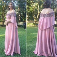 Unique Dusty Rose Off shoulder Evening Mother of the Bride Dresses 2022 With Sleeves Chiffon Lace Crystal Beaded Party Bridesmaid Prom Dress