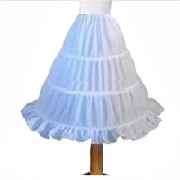 Skirts Formal Vestidos Party Clothes 3 Hoops Petticoat Underskirt Crinoline Slip For Bridal Flower Girls Wedding White Colors1