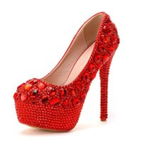 Dress Shoes 2021 Women Beaded Red Thin High Heels Sexy Stilettos Platform Heeled Ladies Single Spring Autumn Large Size A0148