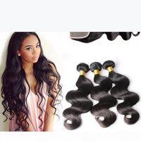 Brasili Brasili Body Wave Bundles Lecciai non trattati dei capelli umani con chiusura Il colore nero naturale può essere tinto le estensioni dei capelli sbiancati