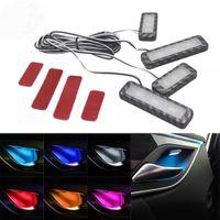 CEES 4PCS車の周囲のインナードアボールハンドルLED armrest雰囲気の光装飾ランプストリップの自動手すりのライトアクセサリー