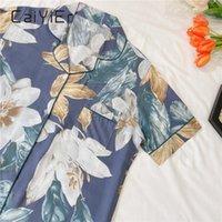 Женские спящие одежды Caiier летние дамы ночные рубашки цветок с коротким рукавом простой сопоставленный повседневный поворотной воротник воротник спящие девушки лаундже