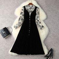 2021 Autumn Winter Long Sleeve Slash Neck Black Floral Print Velour Panelled Buttons Single-Breasted Mid-Calf Dress Elegant Casual Dresses 21S3012694