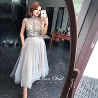 Vintage Lace Grey Dubai Evening Formal Dresses Long 2021 Elegant Arabic Special Occasion Dress For Women Wedding Party Gowns