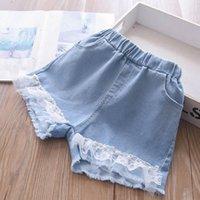 Girls Shorts Children Summer Kids Wear Lace Denim Pearl Jeans Tassels Child Clothing 2-7Y B5095