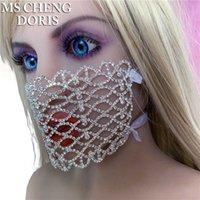 Mschengdoris Rhinestone Fashion Fiesta Fiesta Mascaría Lujo Bling Facemask Máscaras Cara Cristal Halloween Mujer Joyería Hipérbole Q0818