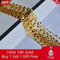Correntes Real 18k Amarelo Colar de Ouro de 18 polegadas Pure AU750 Pingente Cadeia para Mulheres Fine Wedding Jewelry X320