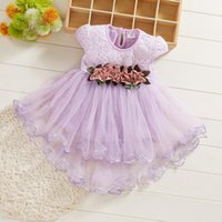 Girl's Dresses Toddler Baby Girls Flowers Floral Tulle Ruched Princess Clothes Kids Children Summer Prom Dress