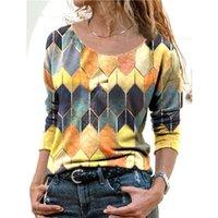 모드 elegante Vrouwen 블라우스 Ronde Hals 패치 워크 레트로 인쇄 Lange Mouwen 2021 Lente Overhemd 블라우스 Blusa