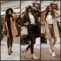 Autumn Winter Plus Size Buttons Khaki Black Beige Zaraing-style 2021 Women Sheining Vadiming Female Jacket Coat Women's Jackets