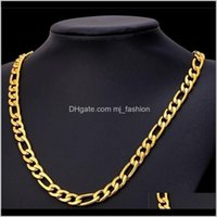Bracelet & Jewelry Sets Jewelry24K Yellow Gold Filled Mens Necklace +Bracelet Set Figaro Curb Chain 20 22 2426 Drop Delivery 2021 Gckzm