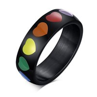 Stainless Steel Band Ring Engagement Bands Jewelry Unique Rainbow Heart Wedding Rings for Women Men