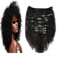 인간의 머리카락 확장에서 아프리카 계 미국인 클립 4A 4B 4C 아프리카 kinky 흑인 여성을위한 헤어 확장에서 곱슬 클립