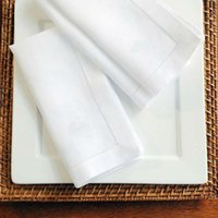 White Hemstitched Napkins Cocktail Napkin For Party Wedding Table Cloth Linen Cotton 4 Size Available