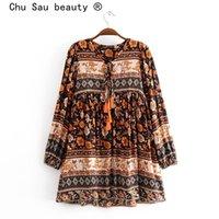 Vestidos casuales Chu Sau Beauty Fashion Boho Vintage 4 Color Impresión floral Flojo Mini vestido de playa Estilo de playa Tassel Mujer