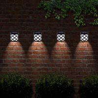 Ogrodzenie słoneczne Światła Outdoor Wall Deck Lampy LED Oświetlenie Oświetlenie Oświetlenie Wodoodporna Automatyczna Lampa Patio do drzwi wejściowych, Post, Backyard, 4 Pack