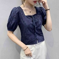 Women's T-Shirt Spring Sweet Embroidered Bubble Short-Sleeved Cotton Blouses Navy White Summer Top D5OW
