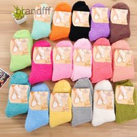 Wholesale- Fuzzy Socks for Women Winter Fluffy Doudou Material Thick Warm Fleece Sleep Socks