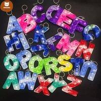 26letters set Christmas Favor Sensory Fidget Pop Bubble Poppers Toys Key Ring Alphabet Shape Push Bubbles Letters Keychain Toy re