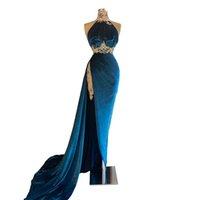 2021Sexy Evening Dresses High-neck Sleeveless Floor-length with Applique Ball Gowns Prom Dresses Custom Made Formal Party Dresses Robes De Mariée