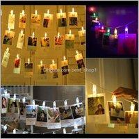 Autres événements Fournitures de fête des Festives Garden de Po Pic Clip String for Christmas Year Fête Mariage Mariage Décoration Fairy Lights Batterie DROO