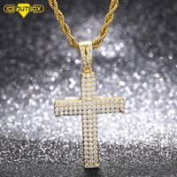 Hollow Back Cross Pendant Necklaces Mens Women Hip Hop Jewelry Iced Out + Bling CZ Stone Gifts Drop Chains