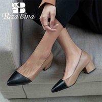 Rizabina Square Tacón de mujer bombas de color mezclado color puntiagudo punta zapatos suave suave oficina oficina mujer calzado mujer 30-43 210610