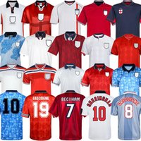 Retro World Copa 2002 Jersey Soccer Home Away Futebol Camisa Rooney Lampard Beckham Owen 1982 Keegan McDermott Shearer 1998 1990 Kits Tailândia