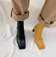 High quality fashion Korean version of the square bare boots after zipper thick with elastic shoes thin wilder Martin boots
