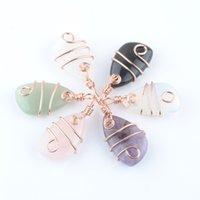Vente en gros pierre naturelle cuivre wrap pendentif pendentif géométrique irrégulier d'améthyste cristal opale or rose couleur dangle charmes bijoux dbn437