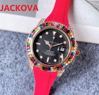 Colorful Big rainbow ring diamonds mens womens wristwatches 41mm quartz movement rubber silicone watch Montre de Luxe Perfect Quality