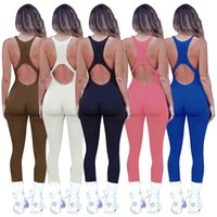 Jumpsuit Women summer Designer Fashion U neck Yoga slim open back and hip lifting sports Onesies Solid color vest trousers Rompers S-XXL y479