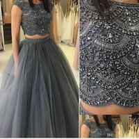 2021 Plus Size Arabic Aso Ebi Backless Beaded Crystals Prom Dresses Luxurious Two Pieces Evening Formal Party Second Reception Gowns ZJ475