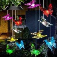 Solar Butterfly Wind Chills Light, 7 Changement de couleur Changement de lumières à moteur solaire, décoration étanche extérieure pour la maison de vacances de la maison de jardin garçon