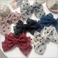 Hair Accessories Fashion Wave Point Chiffon Bowknot Girl Spring Clip Hairgrips Lady For Women Barrettes Bow Hairpins