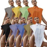 Colete das mulheres 2021 Sensor do projeto do verão cor pura colete sexy moda moda casual temperamento botão rua na moda sólida sólida lapela