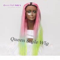 Mermaid Colorful Rainbow Hair Wig Synthetic Pastel Rainbow Color Pink Bright Blue Fluorescent Green Ombre Hair Lace Front Wig
