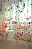 Щята занавес в комнате Красочная бабочка тюль на Windows Voile Чистые шторы для кухни детские комнаты комнаты спальня окна скрининга Drapes 200см х 100 см