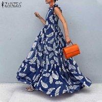 Casual Dresses ZANZEA Bohemian Women 2021 Summer Print Maxi Vestidos Solid Ruffle Sleeveless Sundress Lady Zipper Robe