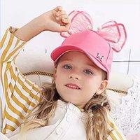 Bonito Crianças Malha Cap Primeira Primavera Baseball Meninas Snapback Hip Hop Caps Coelho Ear Pérola Big Bow Crianças Sun Hat