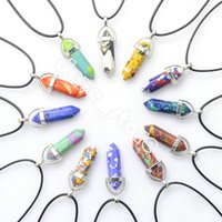 Natural Crystal Stone Pendant Necklace Hand Carved Creative Hexagonal Column Gemstone Necklaces Fashion Accessory With Chain